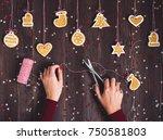 woman hand holding scissors... | Shutterstock . vector #750581803