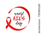 world aids day red ribbon icon. ... | Shutterstock .eps vector #750583183