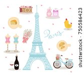symbol of paris  france with... | Shutterstock .eps vector #750586423