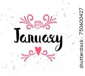 winter calendar seasonal text.... | Shutterstock .eps vector #750600427