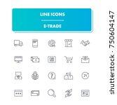 36. line icons set. e trade...