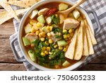 spicy tortilla soup with... | Shutterstock . vector #750605233