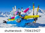 happy family enjoying winter... | Shutterstock . vector #750615427