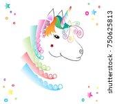unicorn pastel vector  | Shutterstock .eps vector #750625813