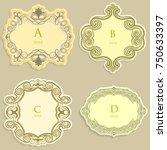 set vector label  vintage frame ... | Shutterstock .eps vector #750633397