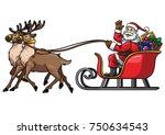 santa ride sleigh with reindeer ... | Shutterstock .eps vector #750634543