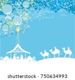 birth of jesus in bethlehem  ... | Shutterstock . vector #750634993