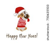 happy new year and merry... | Shutterstock .eps vector #750635503
