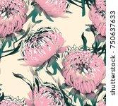 aster flower seamless pattern.... | Shutterstock . vector #750637633