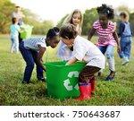 group of kids school volunteer...   Shutterstock . vector #750643687