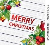 merry christmas on wood...   Shutterstock .eps vector #750644713