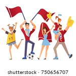 group of sport fans with... | Shutterstock .eps vector #750656707