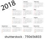 vector circle calendar 2018.... | Shutterstock .eps vector #750656833