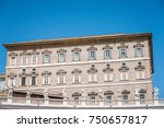 Small photo of Rome, Italy - August 22, 2016: Apostolic Palace in the Vatican from the Square against blue sky