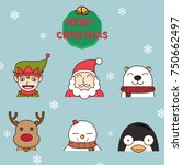 santa claus and the friend  on... | Shutterstock .eps vector #750662497