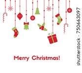 merry christmas. vector... | Shutterstock .eps vector #750663097