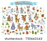 merry christmas  happy new year ... | Shutterstock .eps vector #750663163