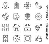 thin line icon set   pointer ... | Shutterstock .eps vector #750668623