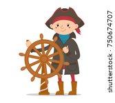 little boy dressed as sailor ... | Shutterstock . vector #750674707
