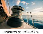 aboard a white yacht | Shutterstock . vector #750675973