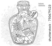 vector coloring book for adults.... | Shutterstock .eps vector #750679123