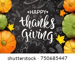 thanksgiving day. greeting card ... | Shutterstock .eps vector #750685447