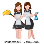 cleaning service. two womans... | Shutterstock .eps vector #750688003