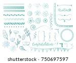 big set of decorative elements. ... | Shutterstock .eps vector #750697597