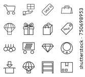 thin line icon set   cart  gift ... | Shutterstock .eps vector #750698953