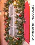 christmas window decoration... | Shutterstock . vector #750700363
