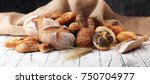 assortment of baked bread and... | Shutterstock . vector #750704977