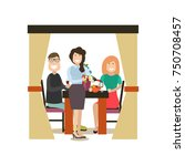 vector illustration of waitress ... | Shutterstock .eps vector #750708457