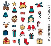 hand drawn xmas stickers... | Shutterstock .eps vector #750718717
