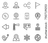thin line icon set   pointer ... | Shutterstock .eps vector #750719053