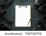 clipboard check list in gym... | Shutterstock . vector #750720793