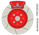 car brakes disk with caliper... | Shutterstock .eps vector #750729547