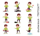 bad boy with crazy hair having... | Shutterstock .eps vector #750731677