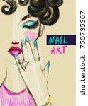 makeup and nail art. fashion... | Shutterstock . vector #750735307