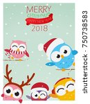 christmas background with owl  | Shutterstock . vector #750738583