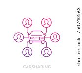 carsharing icon on white  linear | Shutterstock .eps vector #750740563