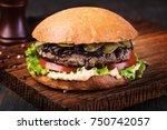 homemade grilled burger on...   Shutterstock . vector #750742057
