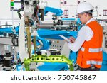 engineer checking maintenance... | Shutterstock . vector #750745867