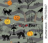 halloween seamless pattern with ... | Shutterstock . vector #750753367