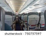 stewardess offers food and... | Shutterstock . vector #750757597