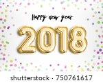 happy new year 2018 joy... | Shutterstock . vector #750761617