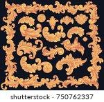 victorian baroque floral... | Shutterstock .eps vector #750762337