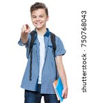 portrait of young student with... | Shutterstock . vector #750768043
