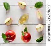 fresh apples and vinegar on...   Shutterstock . vector #750778747