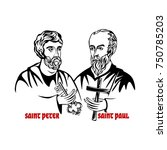 the saints apostles peter and... | Shutterstock .eps vector #750785203