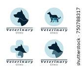 set of logo vet clinic with dog ... | Shutterstock .eps vector #750788317
